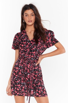 Nasty Gal Womens Tie as You Might Floral Mini Dress - black - 4