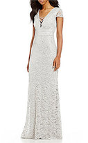 B. Darlin Criss-Cross V-Neck Sequin Lace Long Dress