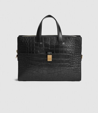 Reiss Blake - Leather Croc Embossed Briefcase in Black