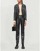 Emporio Armani Biker-collar leather jacket
