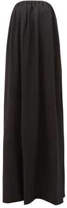 Sara Battaglia Bow-back Wool-blend Twill Gown - Black