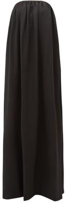 Sara Battaglia Bow-back Wool-blend Twill Gown - Womens - Black