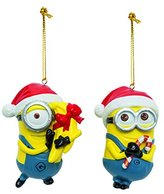 Kurt Adler Despicable Me Dave and Carl with Santa Hats Minions Christmas Ornament Set of 2