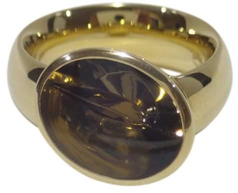 Georg Jensen 18K Yellow Gold Smokey Quartz Nordic Summer Ring Size 5.5
