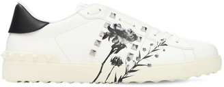 Valentino Flower Print Leather Sneakers W/ Studs