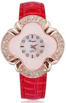 BUYEONLINE Women's Fashion Quartz Diamond Rose Gold Plated Pu Leather Casual Watch