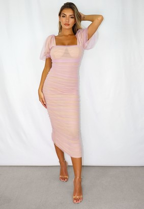 Missguided Pink Mesh Ruched Puff Sleeve Midi Dress