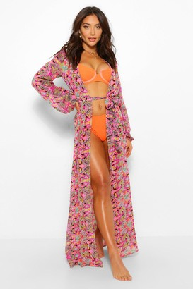boohoo Mosaic Tile Print Maxi Beach Kimono