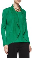 Misook Textured Cascade Jacket, Putting Green, Petite