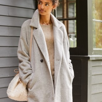 The White Company Luxe Revere-Collar Coat with Alpaca, Pale Grey, Large