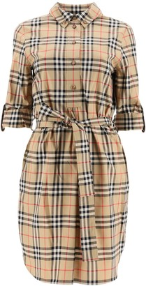 Burberry Vintage Check Tie-Waist Shirt Dress