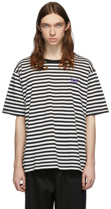 Needles White and Black Striped Logo T-Shirt