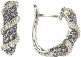 LeVian Suzy Silver Diamond & Sapphire Mini Hoops