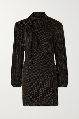 Marc Jacobs The THE Pussy-bow Metallic Striped Stretch-jersey Mini Dress - Black