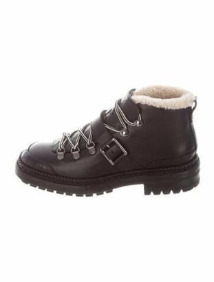 Chanel 2015 Interlocking CC Logo Combat Boots Black
