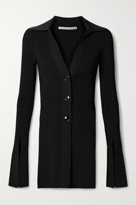 Alexander Wang Ribbed Stretch-knit Cardigan - Black