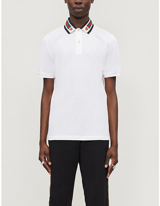 Gucci Tiger-embroidered cotton-pique polo shirt