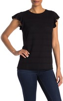 Adrianna Papell Flutter Sleeve Eyelet Stripe T-Shirt