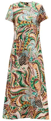 La DoubleJ Swing Fenice-print Silk-twill Dress - Multi