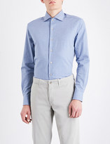 Corneliani Herringbone slim-fit cotton-jersey shirt