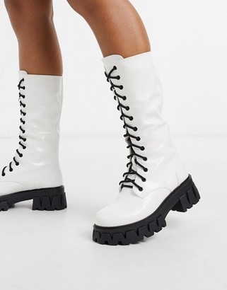 Koi Footwear Trinity vegan lace up chunky boot in white