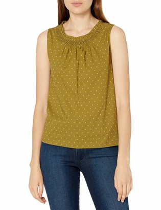 Lucky Brand Women's Sleeveless Scoop Neck Smocked Woven Tank Top