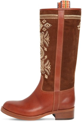 Etro 30mm Leather & Suede Tall Boots