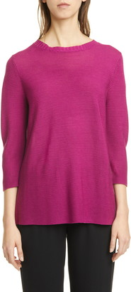 Eileen Fisher Horizontal Ribbed Crewneck Sweater