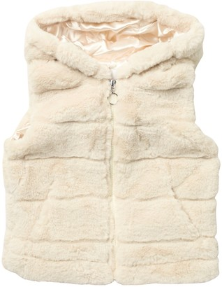 Urban Republic Faux Fur Hooded Zip-Up Vest (Little Girls)