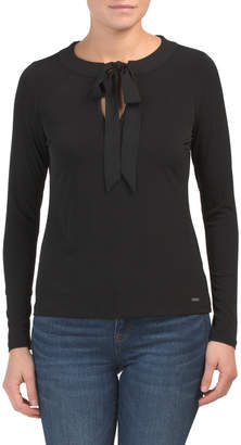 Knit Blouse With Bow Collar