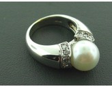 575 Denim excellent (EX) 18k White Gold 8mm Pearl .28ctw Diamond Ring sz