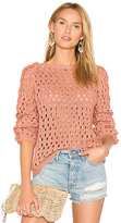 AYNI Pozo Crew Neck Sweater in Coral