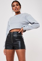 Missguided Black Faux Leather Zip Detail Shorts