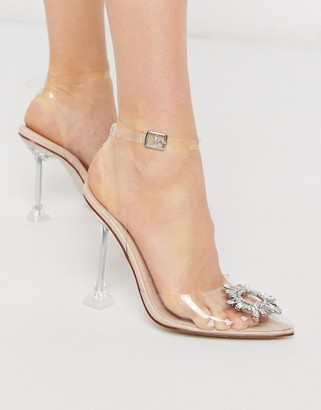 Be Mine Bridal Sterling embellished court shoe in clear with statement heel