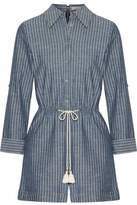 Alice + Olivia Tasseled Striped Cotton-Chambray Playsuit