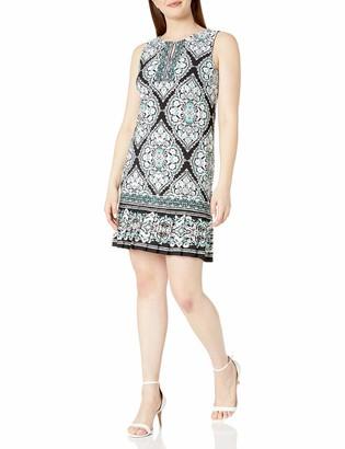 Sandra Darren Women's 1 PC Sleeveless Printed ITY Textured Sheath Dress