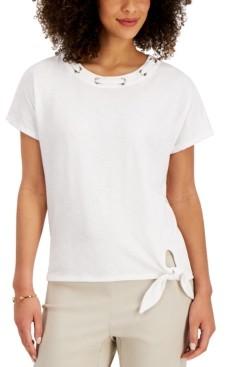 JM Collection Grommet Tie-Hem Top, Created for Macy's