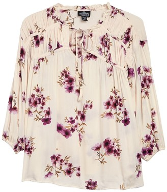 Angie Pleated Yoke Floral Print Top