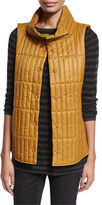 Eileen Fisher Quilted Stand-Collar Vest, Petite