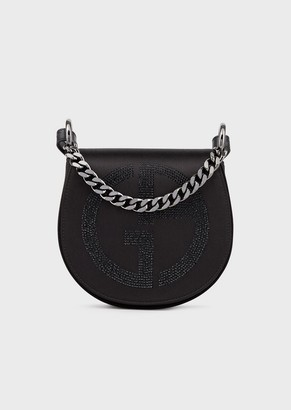 Giorgio Armani Shoulder Bag In Satin With Rhinestone Ga Logo