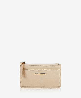 GiGi New York Mini Zip Card Case, Ivory Goatskin