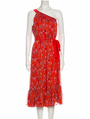 Alexis Floral Print Midi Length Dress Orange
