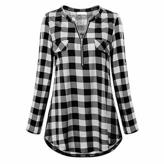 DOMBX Women's Casual Fashion Shirts Oversized Long Sleeve Check Plaid Buttons/Half Zipper Elegant Basic Tunics Tops T-Shirt Blouse Womens Ladies V Neck Cotton Linen Loose Sweatshirt Jumper Pullover