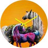 DENY Designs Clara Nilles Painted Ponies On Papaya Creme Round Clock
