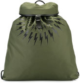 Neil Barrett lightning bolt print backpack - men - Leather/Polyester - One Size