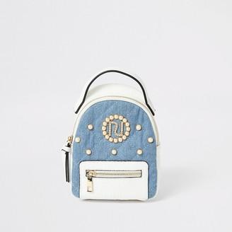 River Island Girls white denim quilted RI pearl backpack