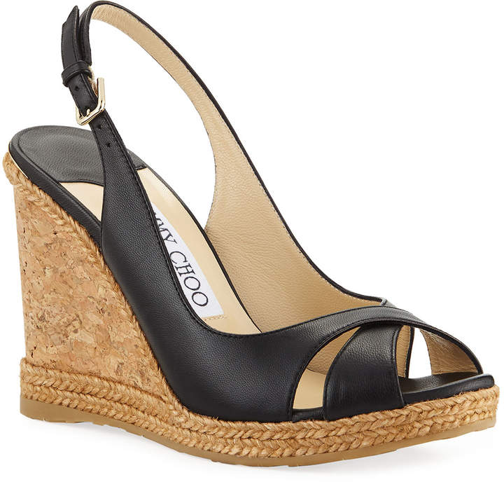 664ac9a7971 Amely 105mm Leather Cork Wedge Sandals