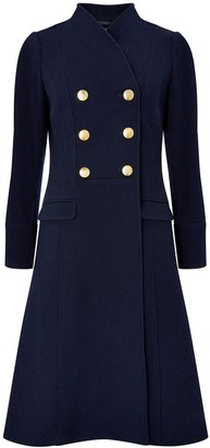 Monsoon Rosaline Military Long Coat - Navy