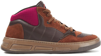Ganni Neoprene-paneled Leather And Suede Sneakers