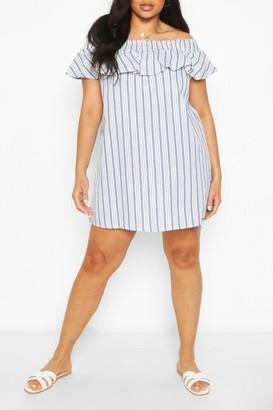 boohoo Plus Stripe Off The Shoulder Ruffle Shift Dress